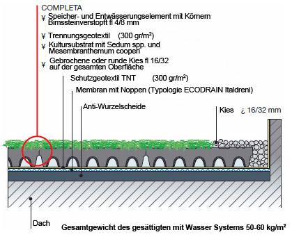 Aufbau Skizze Drainroof Completa Dachgarten