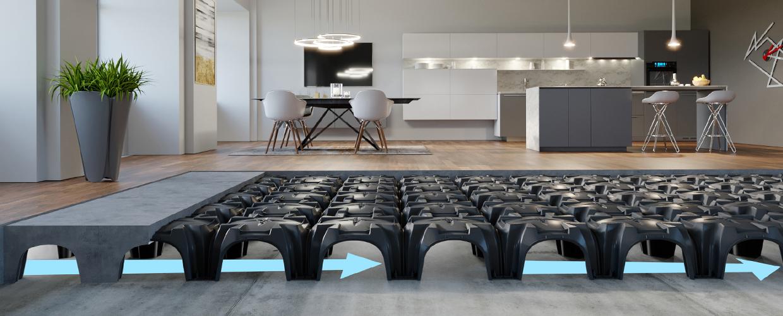 Modulo plastic formwork solution for ventilated floors