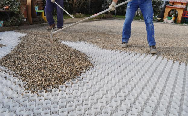Come Costruire Un Giardino Di Ghiaia : Soluzione progettato per le superfici in ghiaia geoplast