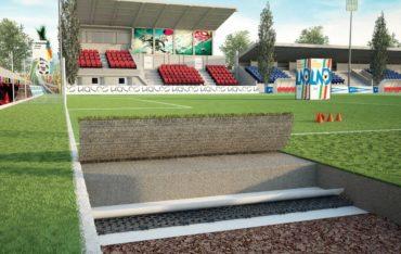 Durch die Installation von GEOCELL können Rückstaus auf Sportplätzen wie Fußballplätzen mit Natur- oder Kunstrasen, Golfplätzen oder Tennisplätzen vermieden werden