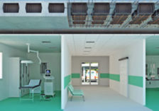 Lightened bidirectional slab system with high structural performance for hospitals