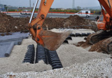 Road works water drainage