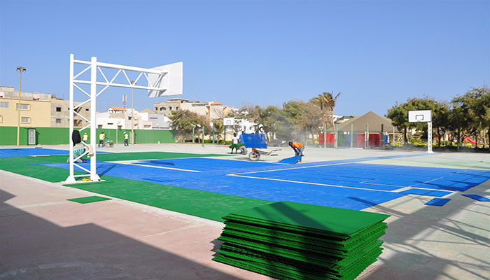 Setting up Gripper sports courts in Senegal