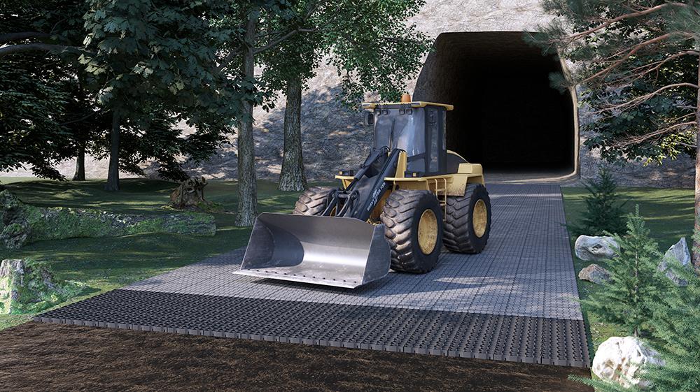 Haul road reinforcement with Geoplast Runfloor