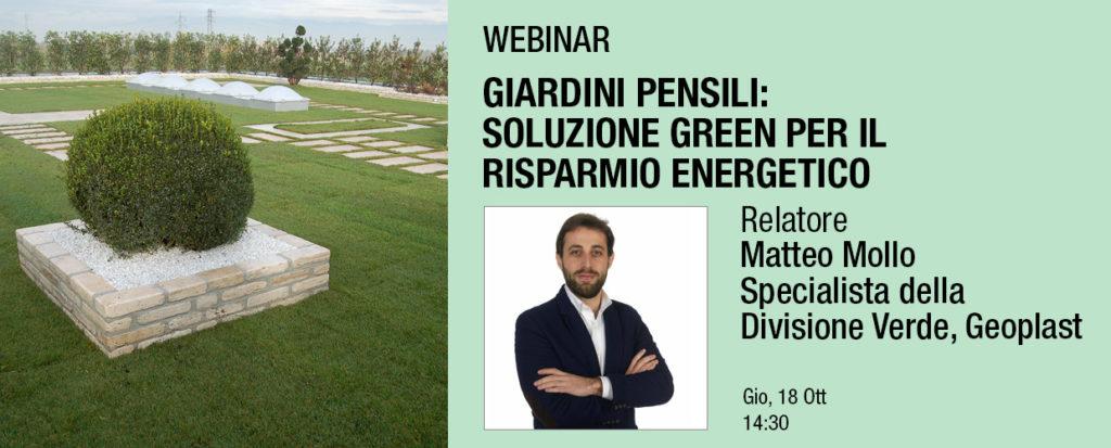 Giardini pensili soluzione green per il risparmio energetico webinar Matteo Mollo