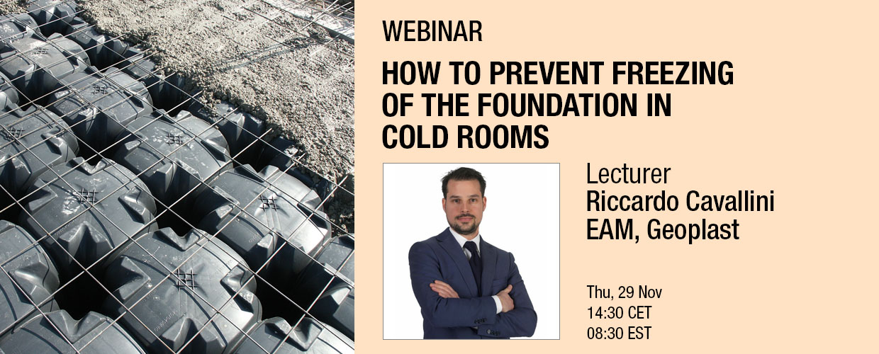 Geoplast webinar, How to prevent freezing of the foundation in cold rooms. Lecturer Riccardo Cavallini