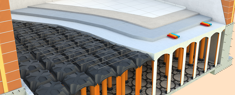 Neu Elevetor Querschnitt einer belüfteten Bodenplatte