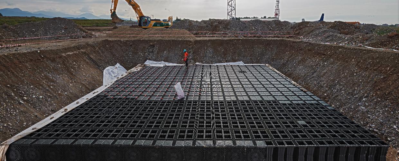 Geoplast, Aquabox, Milan Bergamo Airport, construction