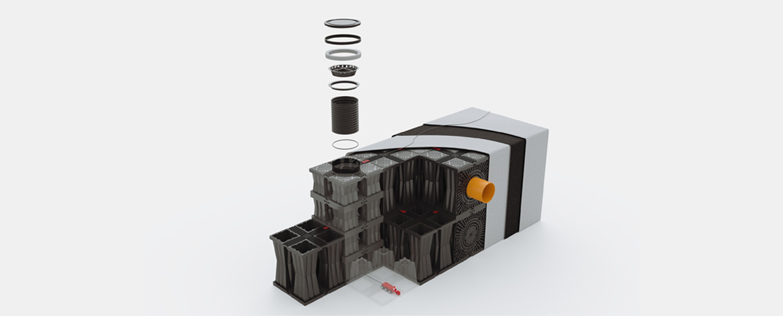Geoplast Aquabox solution de gestion des eaux pluviales vue 3D