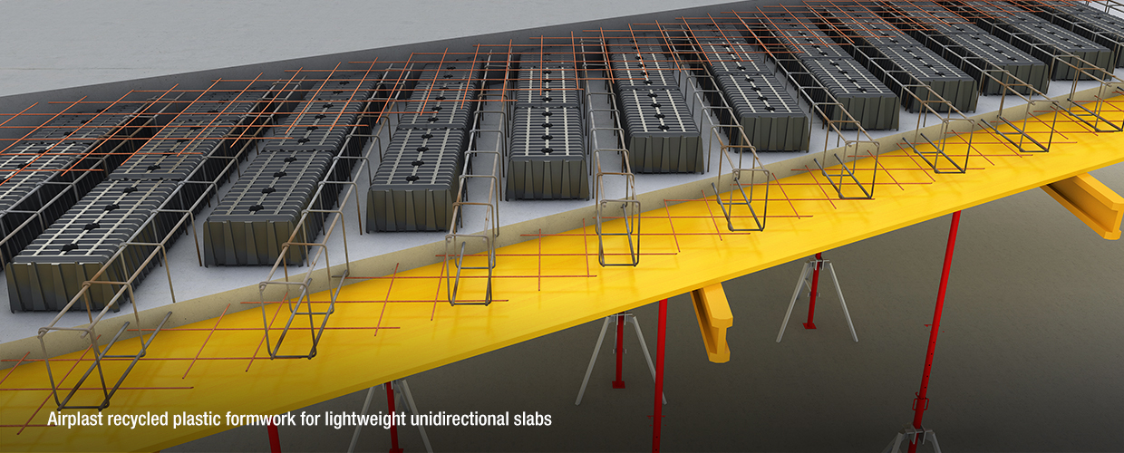 Airplast recycled plastic formwork for lightweight unidirectional slabs