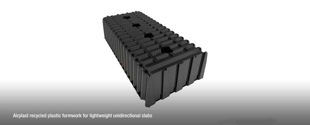 Airplast recycled plastic formwork module for lightweight unidirectional slabs