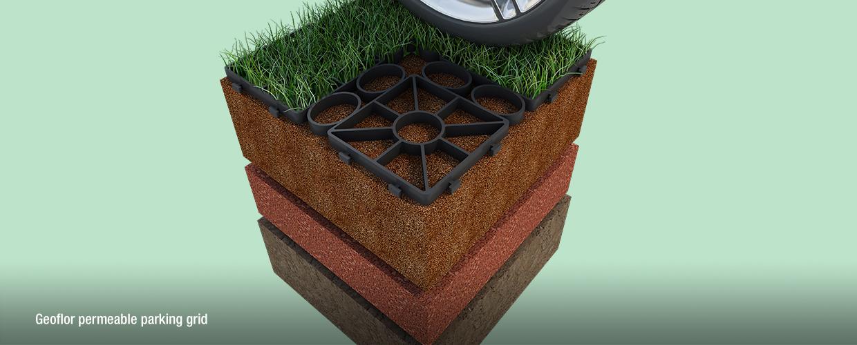 Geoflor permeable parking grid model