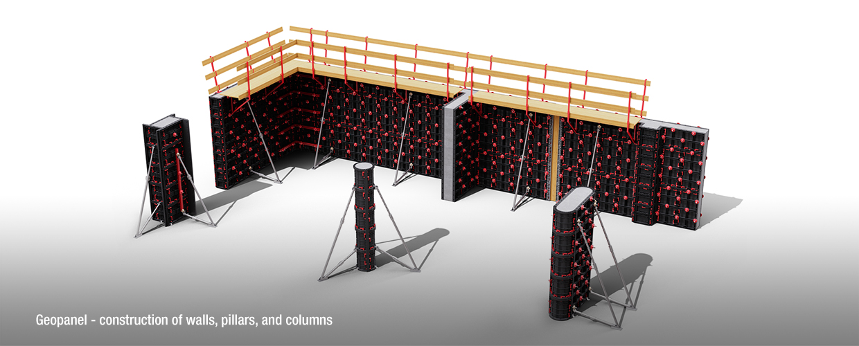 Geoplast Geopanel construction of walls, pillars and columns