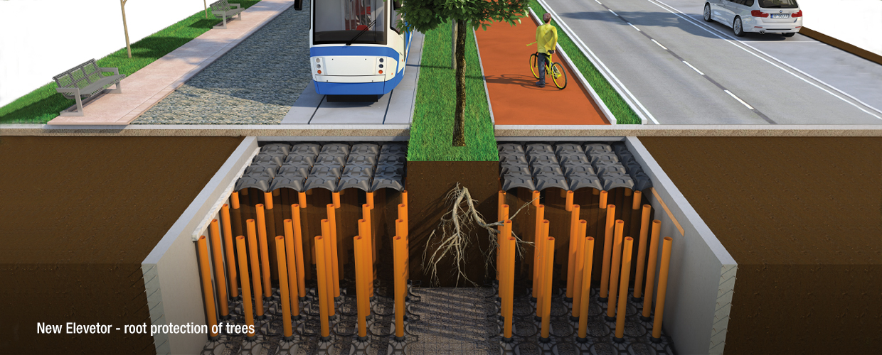 Geoplast New Elevetor root protection of trees